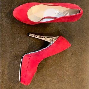 Michael Kors red suede animal print heels hot hot